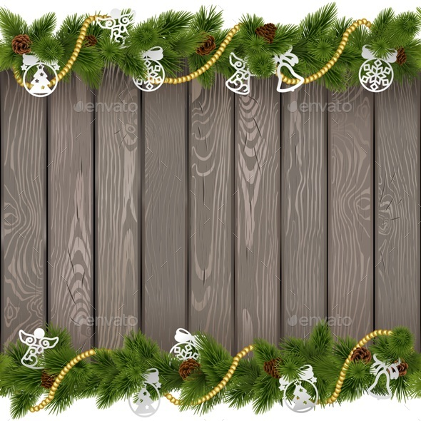 Vector Seamless Christmas Old Board with Paper Decorations - Seasons/Holidays Conceptual