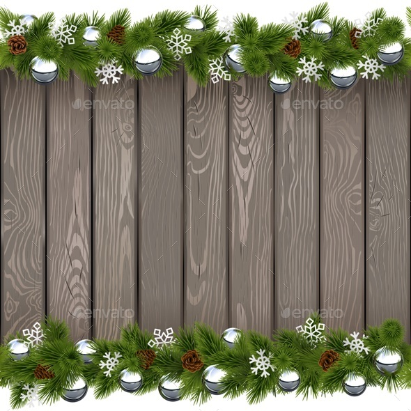 Vector Seamless Christmas Old Board with Silver Balls - New Year Seasons/Holidays