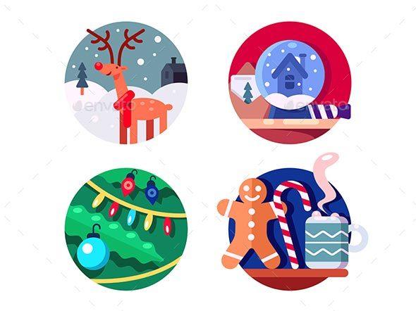 North Christmas Reindeer - Web Elements Vectors