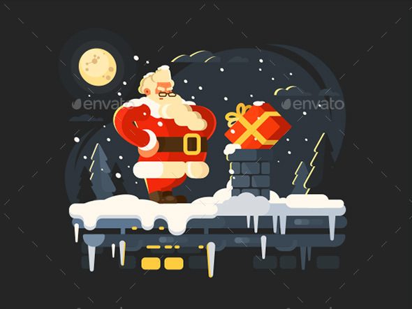 Santa Claus On Roof - People Characters