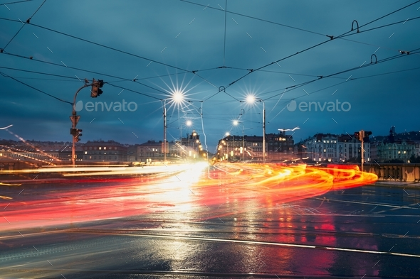 Light trails in the city - Stock Photo - Images