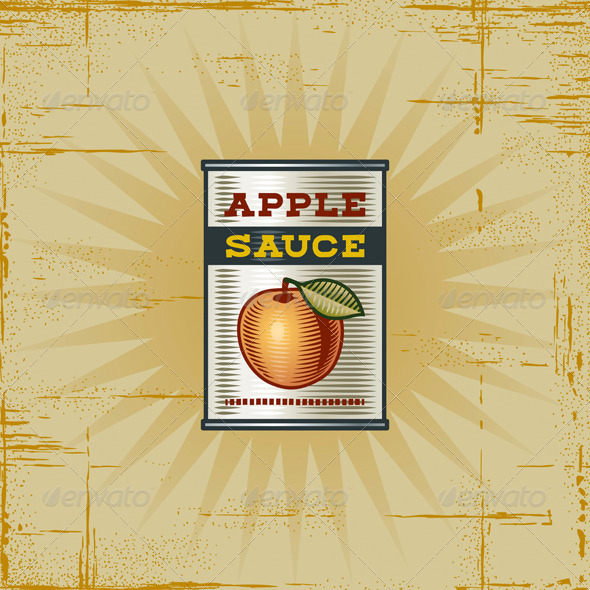 Retro Apple Sauce Can - Food Objects
