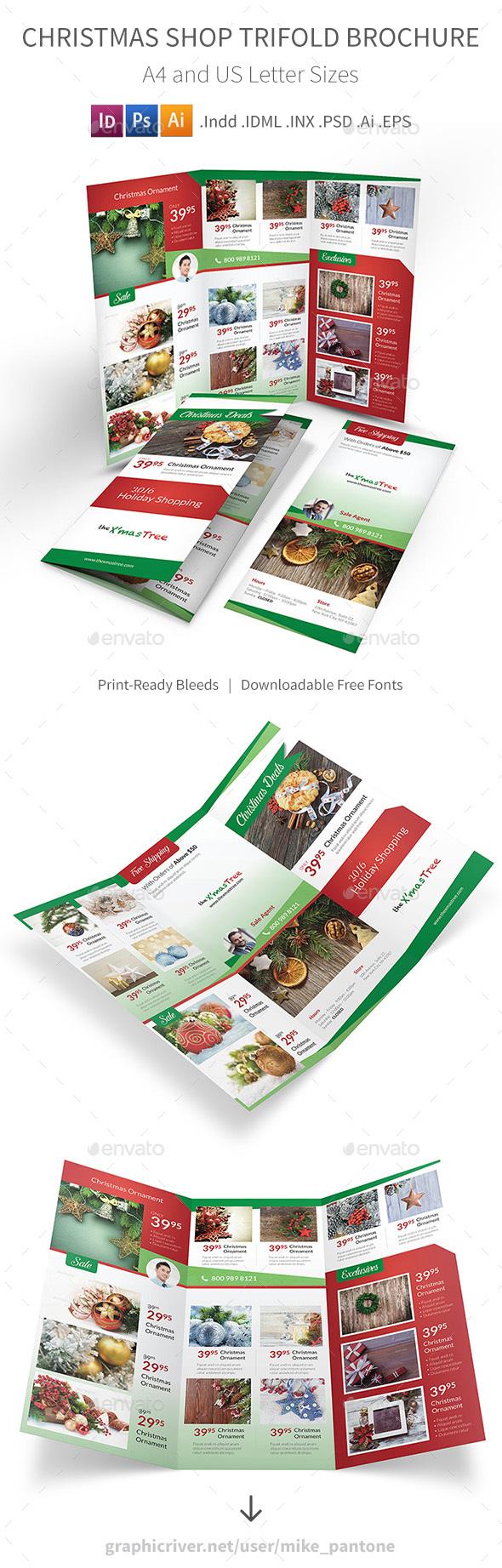 Christmas Shop Trifold Brochure - Informational Brochures