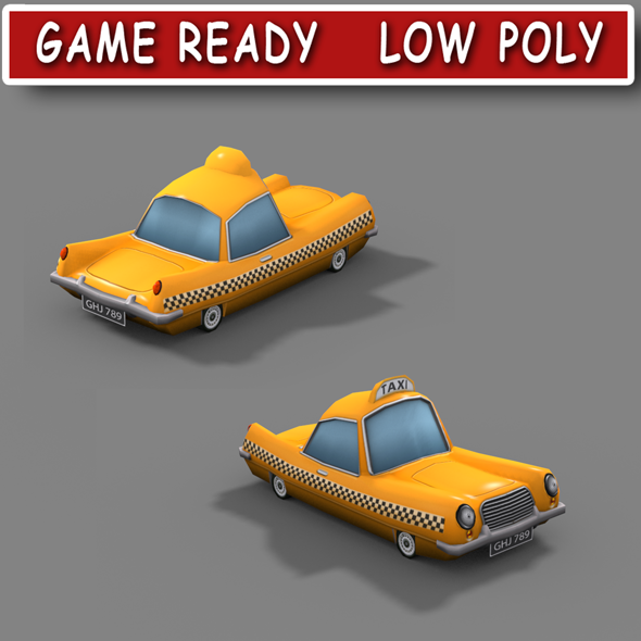 Low poly cartoon taxi - 3DOcean Item for Sale