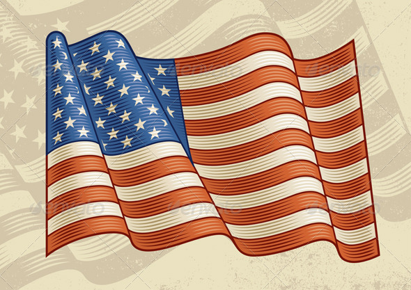 Vintage American Flag - Objects Vectors