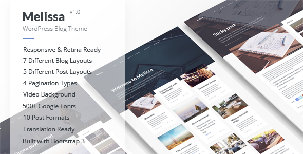 Melissa – Personal Blog/Magazine WordPress Theme