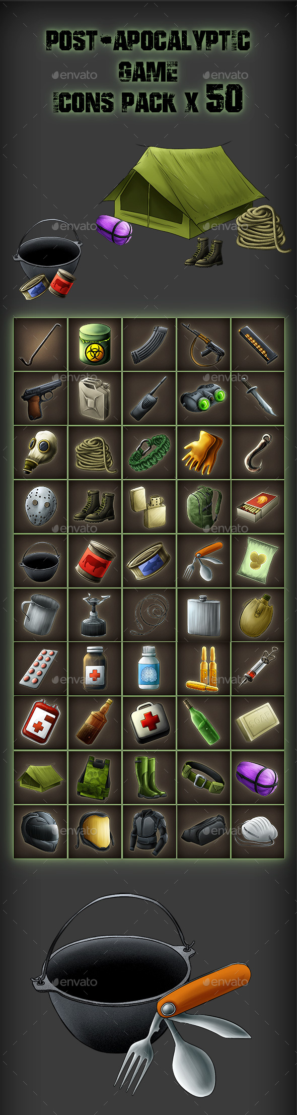 50 RPG Post Apocalypse Icon Set - Miscellaneous Game Assets