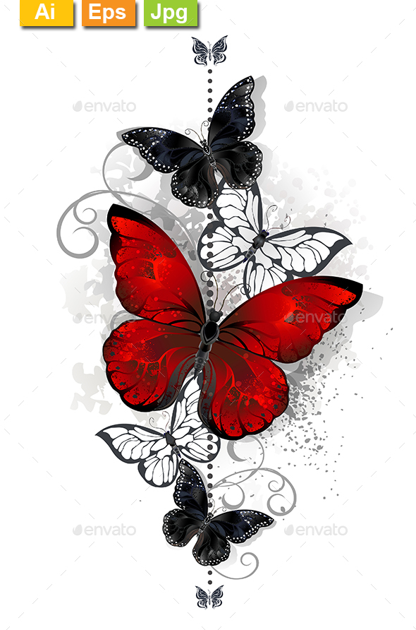 Red and Black Butterflies - Decorative Vectors