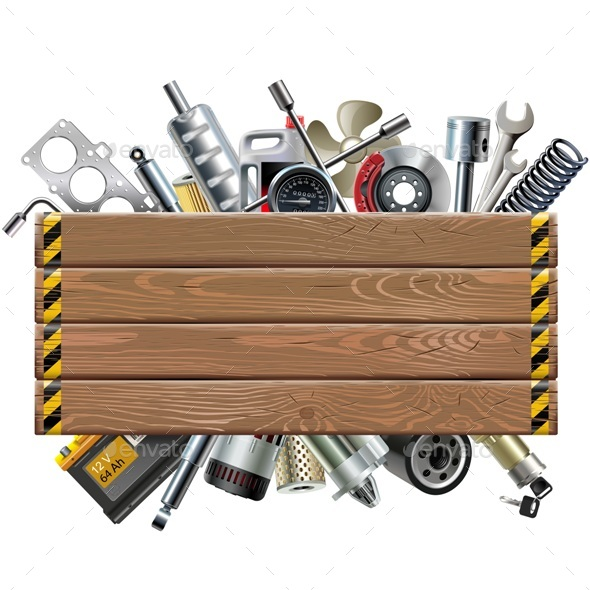 Vector Wooden Board with Car Spares - Industries Business