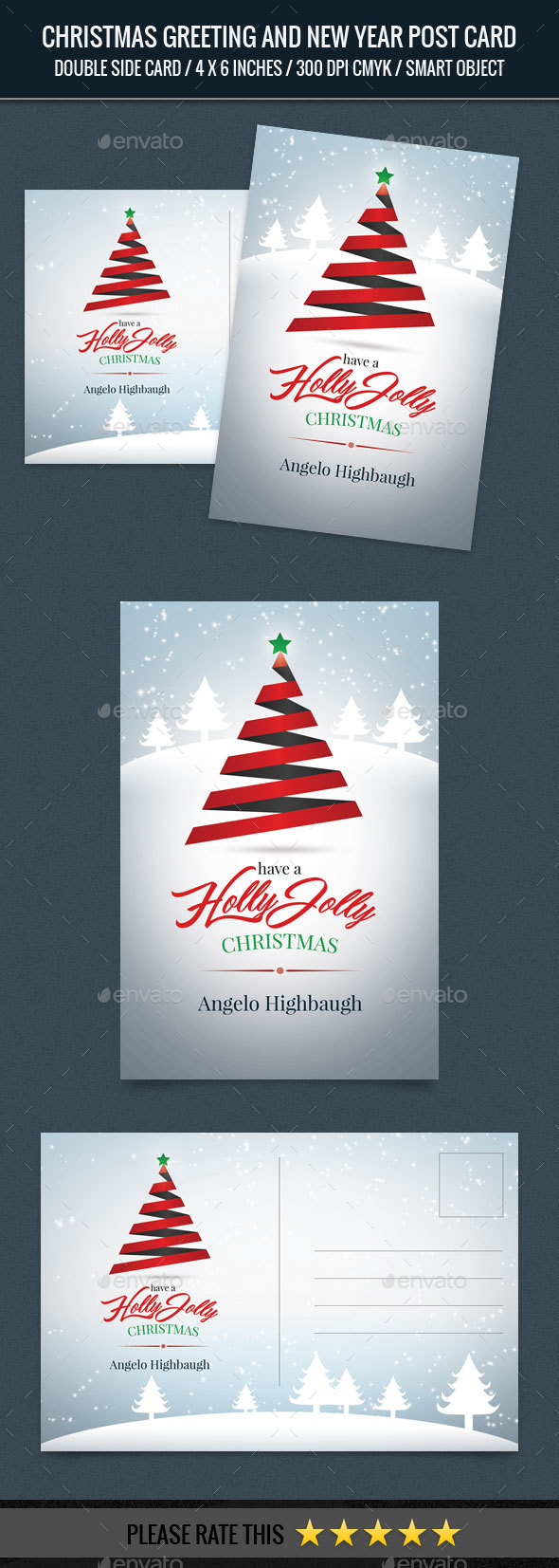 Christmas Greeting and New Year Post Card Template - Cards & Invites Print Templates