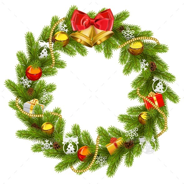 Vector Fir Wreath with Golden Beads - Christmas Seasons/Holidays