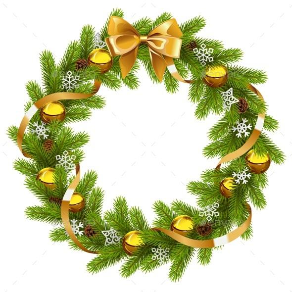 Vector Fir Wreath with Golden Decorations - Christmas Seasons/Holidays