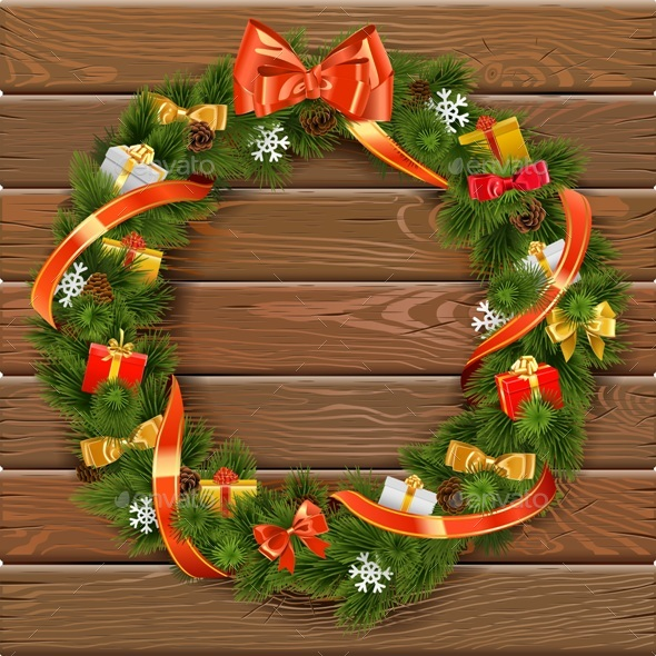 Vector Christmas Wreath on Wooden Board 10 - Christmas Seasons/Holidays