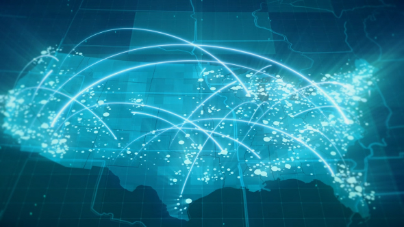 Blue Usa Map.Globalization Usa Map Animation Hd