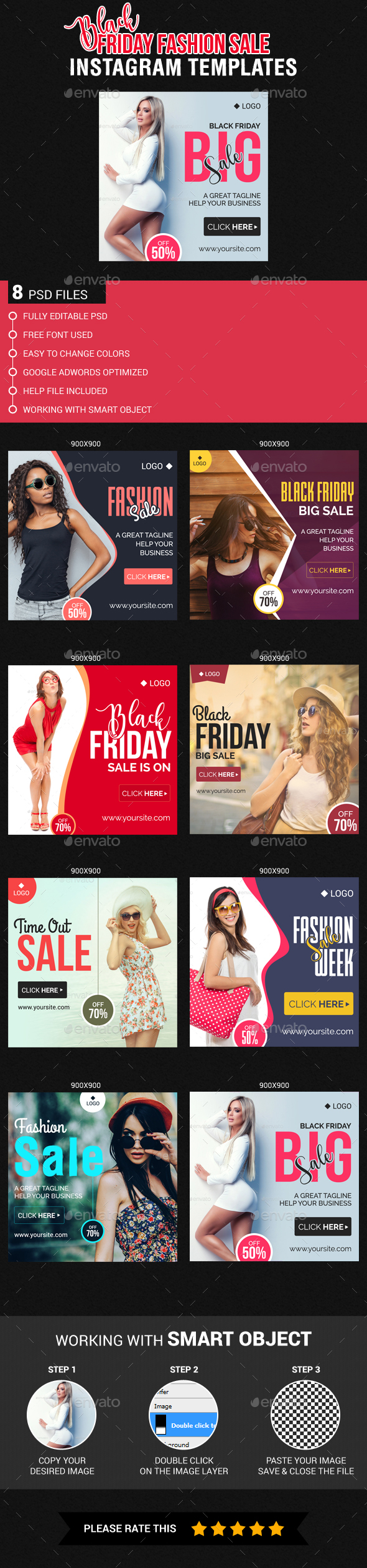Black Friday Fashion Sale Instagram Templates - Banners & Ads Web Elements