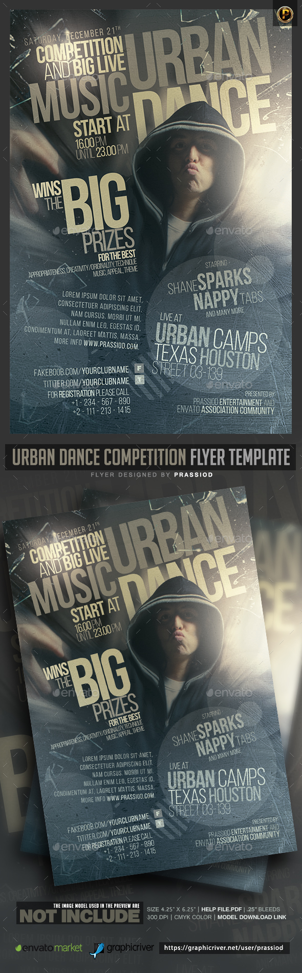 Urban Dance Competition Flyer Template - Clubs & Parties Events