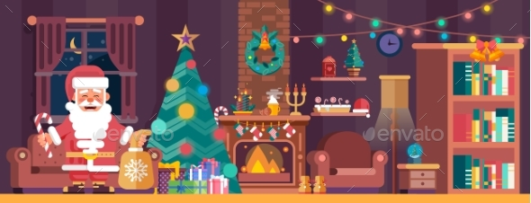 Merry Christmas Interior With Spruce And Santa - Christmas Seasons/Holidays