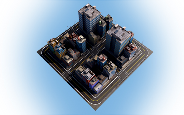Low Poly CityTown  - 2 - 3DOcean Item for Sale