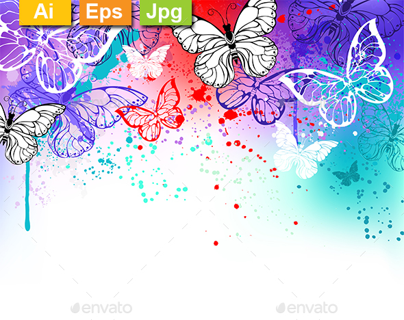 Butterflies on Watercolor - Backgrounds Decorative