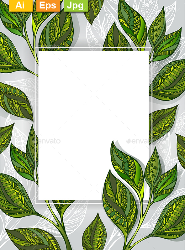 Banner with Tea Leaves - Borders Decorative