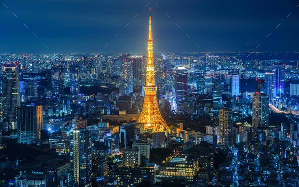 Tokyo city at night, Japan - Stock Photo - Images