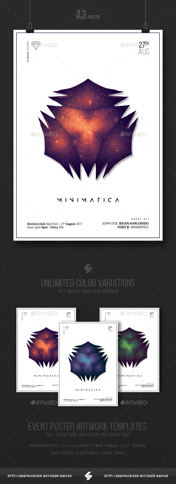 Minimatica - Minimal Party Flyer / Poster Template A3 - Clubs & Parties Events
