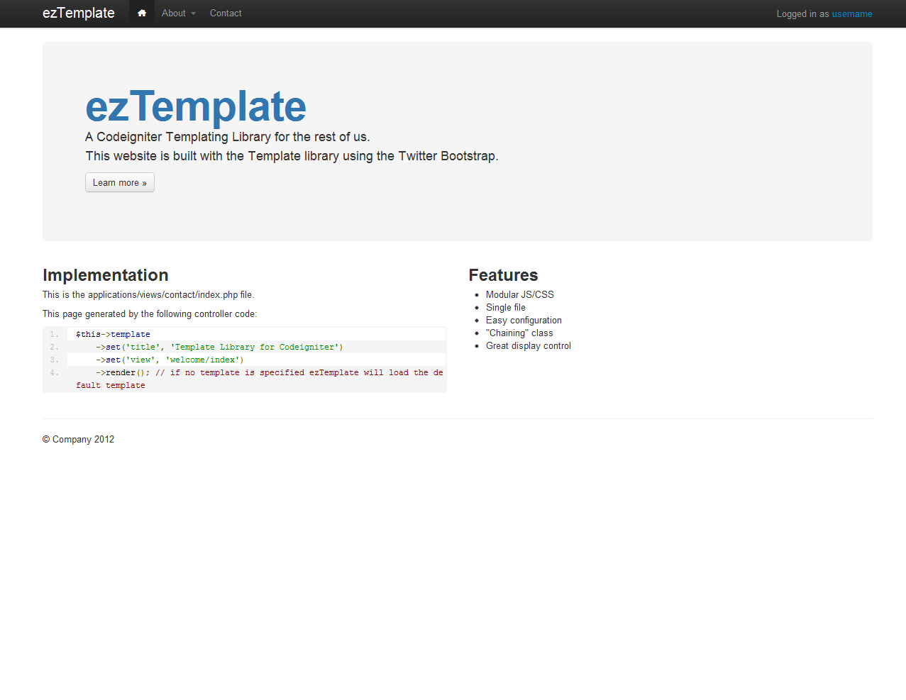 ezTemplate, a CodeIgniter library by DLINSMEYER   CodeCanyon
