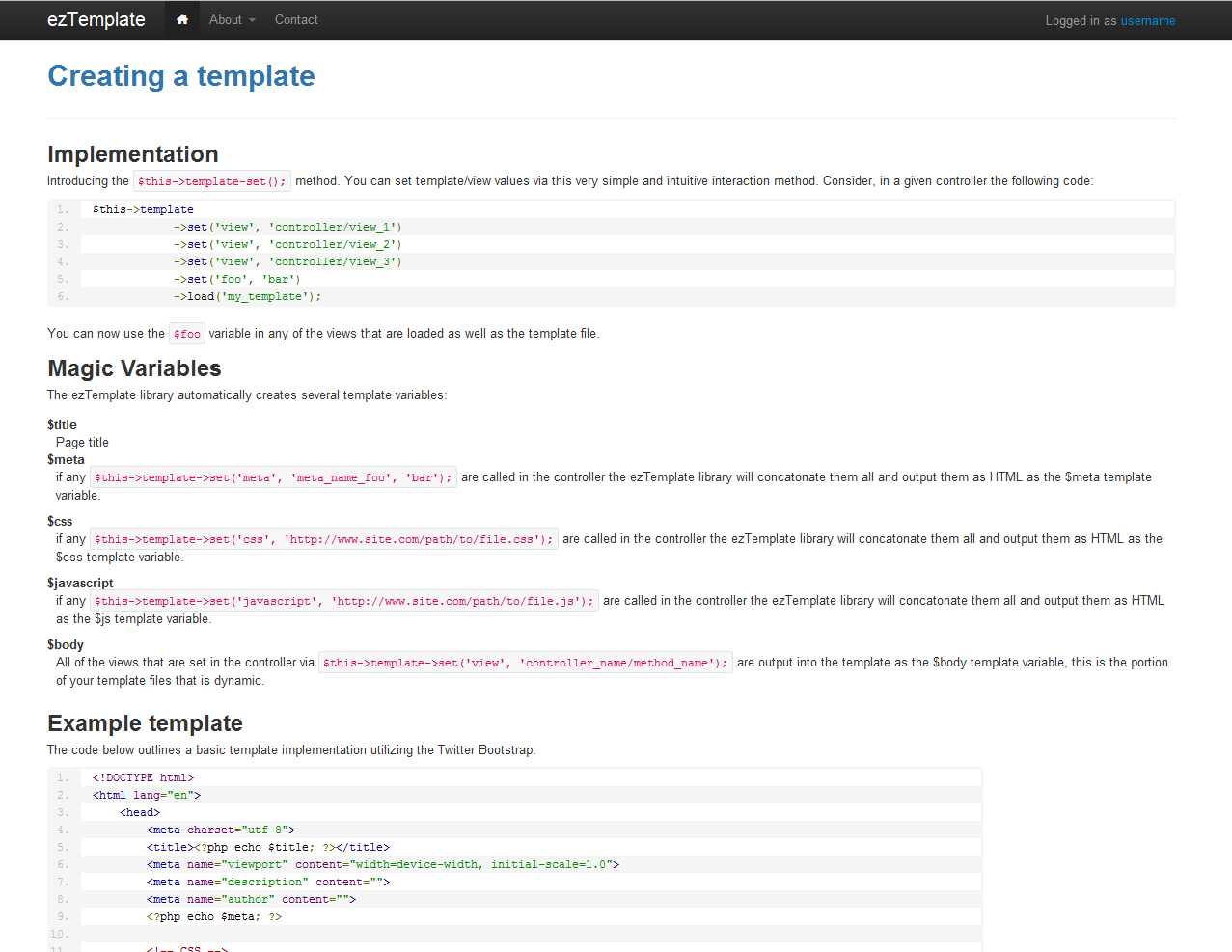 Eztemplate A Codeigniter Library By Dlinsmeyer Codecanyon