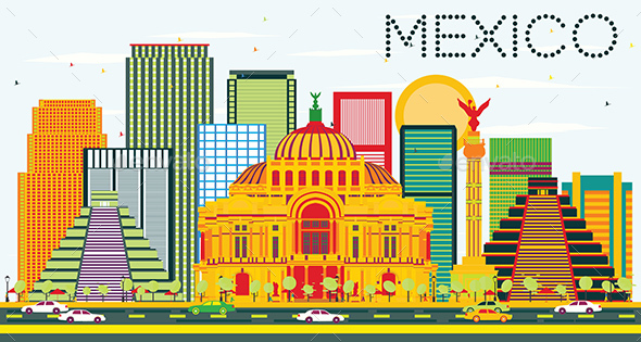 Mexico Skyline with Color Buildings - Buildings Objects