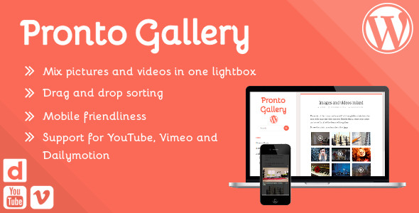 Pronto Gallery – sortable responsive image and video lightbox gallery for Wordpress - CodeCanyon Item for Sale