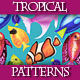 Set of Colorful Seamless Patterns with Watercolor Fishes. - GraphicRiver Item for Sale