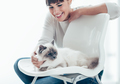 Woman with her lovely cat at home - PhotoDune Item for Sale
