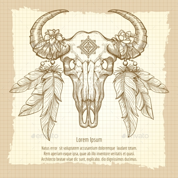 Hand Drawn Buffalo Skull Vintage Poster - Miscellaneous Conceptual