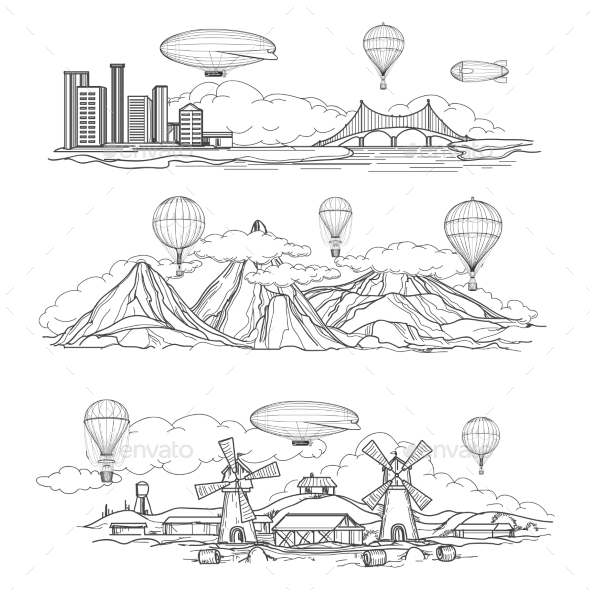 Landscapes With Hot Air Balloons Parade - Miscellaneous Conceptual