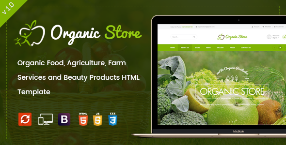 Organic Store –  Organic Food, Agriculture, Farm Services and Beauty Products HTML Template