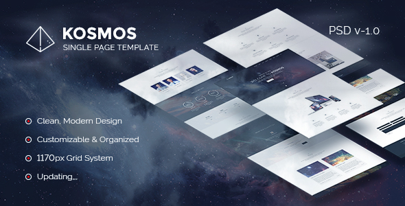 Kosmos – Single Page PSD Template