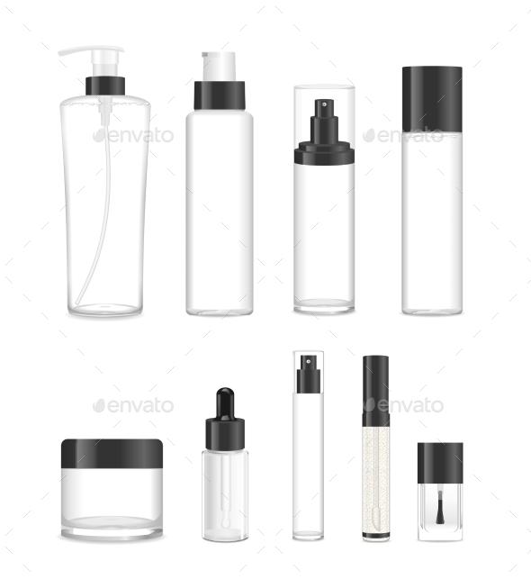 Set Of Nine Transparent Cosmetic Tubes. Vector - Web Elements Vectors