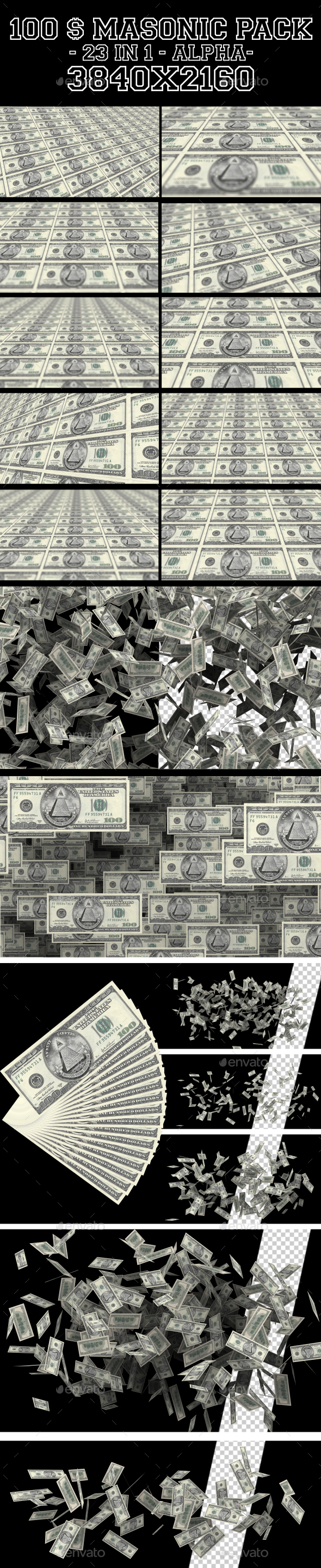 100 Masonic Dollars Pack 23 in 1 - 3D Backgrounds