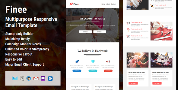 Finee - Multipurpose Responsive Email Template + Stampready Builder - Email Templates Marketing
