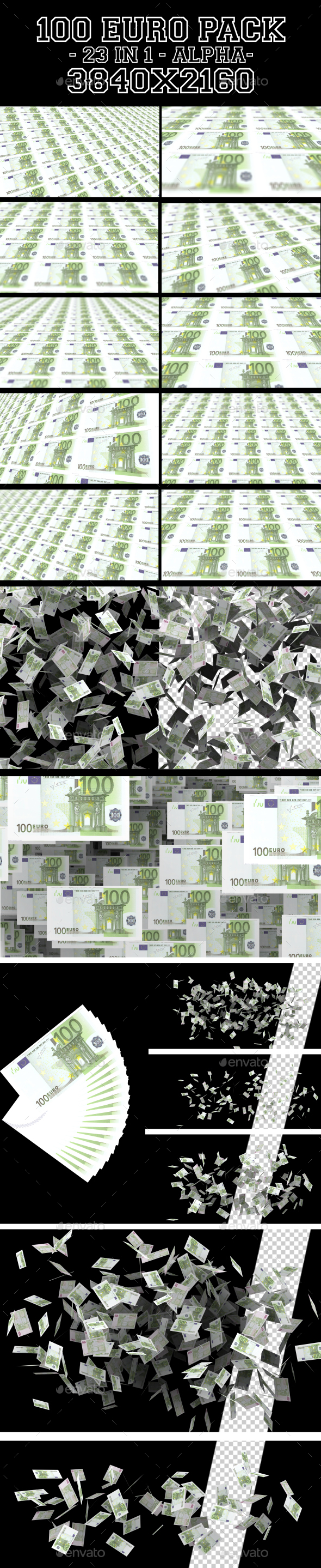 100 Euro Pack 23 in 1 - Business Backgrounds