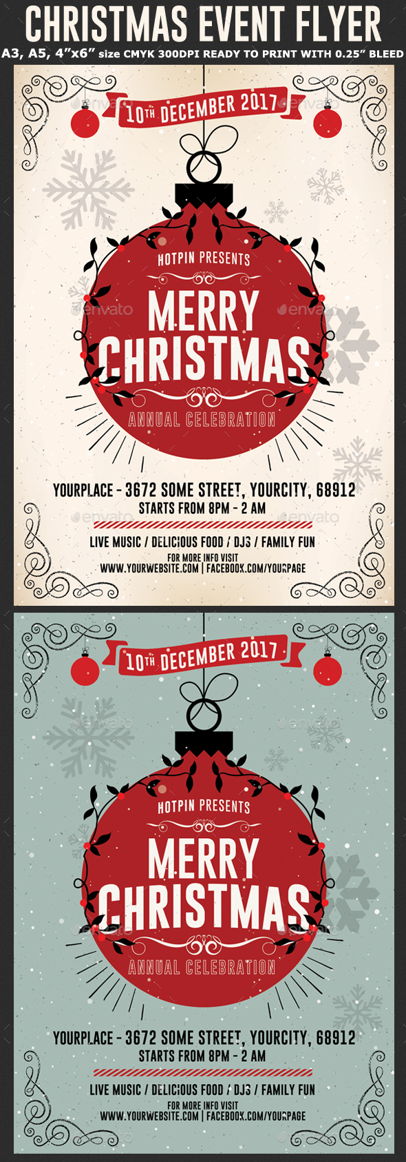 Christmas Flyer  Psd Template - Holidays Events