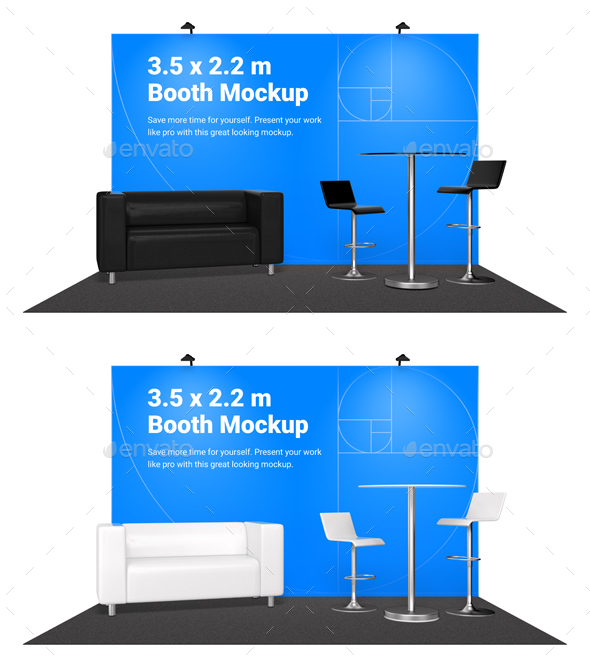 Booth Mockup with furniture - Product Mock-Ups Graphics