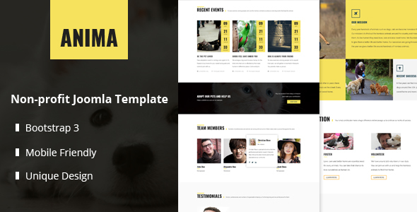 Anima - Responsive Pet Rescue and Shelter Joomla Template