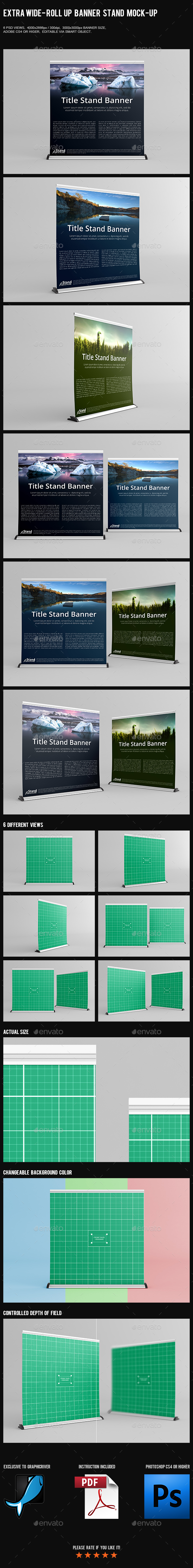 Extra Wide - Roll Up Banner Stand Mock-Up - Product Mock-Ups Graphics