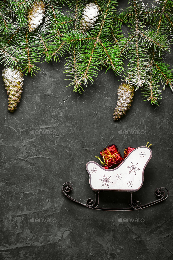 Christmas decorations on the Christmas tree - Stock Photo - Images