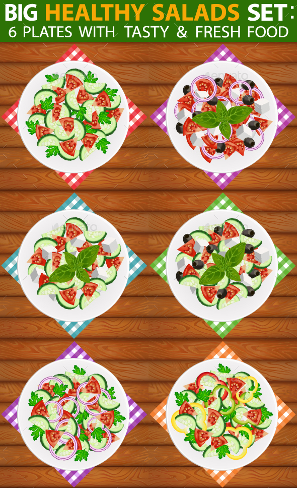 Salads Set 6 Types of Fresh Healthy Salads - Food Objects