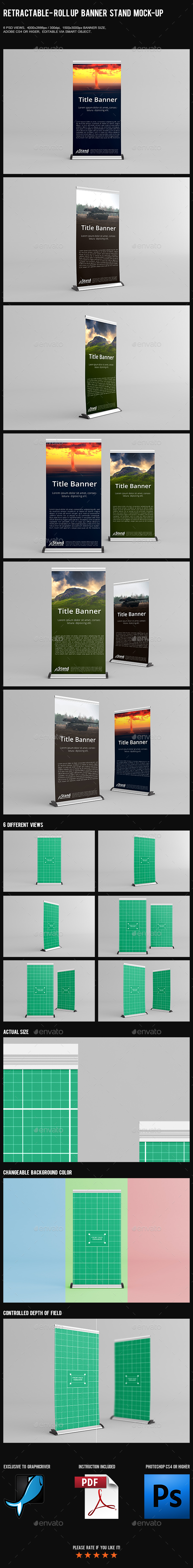 Retractable - Roll Up Banner Stand Mock-Up - Product Mock-Ups Graphics