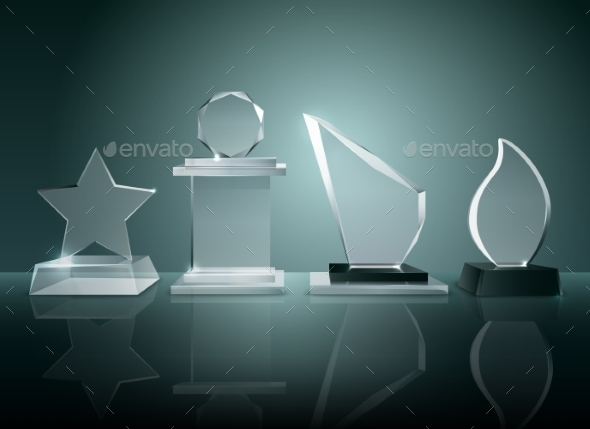Glass Trophies Background Reflection Realistic - Objects Vectors