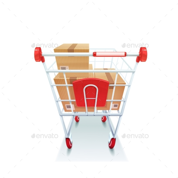 Shopping Cart With Boxes Realistic Image - Objects Vectors