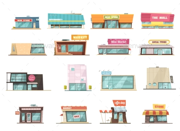 Shop Building Set - Commercial / Shopping Conceptual
